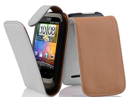 Cadorabo - Flip Style Hülle für HTC WILDFIRE S - Case Cover Schutzhülle Etui Tasche in POLAR-WEIß