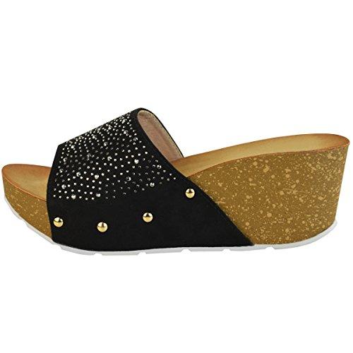Sandales à semelles compensées - détails strass - confortables/amorties Faux suède noir / paillettes argent