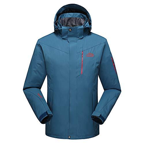 MOTOCO Herren mittelschwere wasserdichte und atmungsaktive Jacke Softshell Outdoor Plus Size Windbreaker Coat(6XL,Marine)