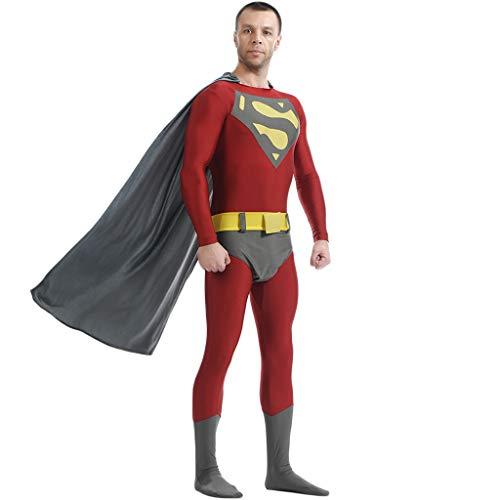 QWEASZER Erwachsenen Justice League Superman Deluxe Kostüm PS4 Superheld Anime Zentai Kostüme Männer Film Cosplay Kostüm Overall Onesies,Red-145~160cm (Zentai Kostüm Superman)