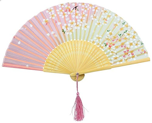 Aisence Handheld Silk Bamboo Gradually Cherry Blossoms Folding Fans for Girls Women Openwork for Performance Dance,One Size(Pink)