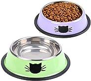 مجموعة اوعية طعام للقطط من انتول من قطعتين مع وعاء لاطعام وسقاية الحيوانات الاليفة مصنوع من الستانلس ستيل ووعا