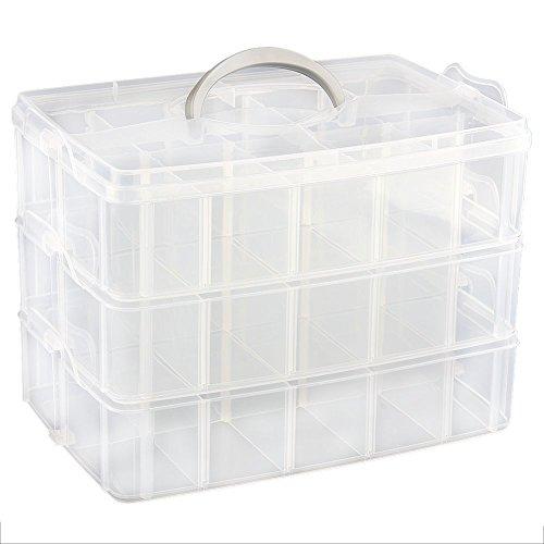 nabati 30Fächer Kunststoff Werkzeug oder Zubehör Organizer Aufbewahrungsbox 3verstellbare Ebenen (Organizer-tool-box)