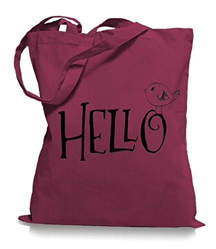 Ma2ca® Hello Bird - Jutebeutel Stoffbeutel Tragetasche / Bag WM101 Cranberry