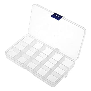15 Slots / Compartments Adjustable Organiser, Transparent Detachable Storage Organizer for Jewelry Bead Diamond Necklace