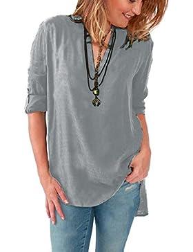 GUOCU Blusas de Vestir Manga Larga Cuello en V Blusa Gasa Fiesta Camisas Mujer Camisetas Largas Elegantes Blusas...