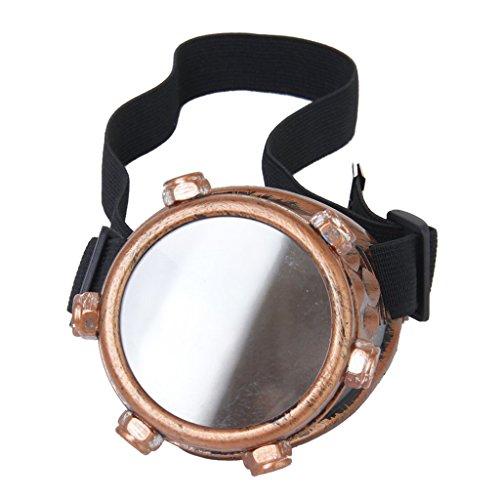 Dcolor Schutzbrille Jahrgang Steampunk Brille Zyklop Brille Gotik Cosplay Kostuem fuer das linke Auge (Kupfer) (Linkes Auge Kostüm)
