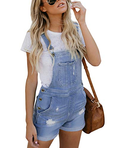 Happy Sailed Damen Kurz Jeanslatzhose Denim Overall Jumpsuit Playsuit Jeans Hosenanzug Romper S-XXL, 2 Hellblau, Medium (EU40-EU42)