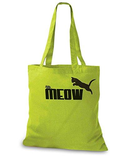 StyloBags Jutebeutel / Tasche MEOW - Miau Kiwi