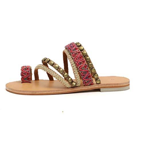 Sandali Donna,Hoopert Bohemien Stile Etnico Scarpa Femminile Open Toe Infradito Spiaggia Pantofola Toe Scarpe Piatte Sandali Donna (37 EU, Rosso)