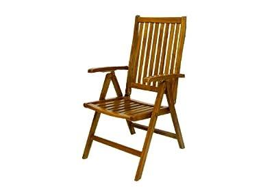 DIVERO Stuhl Akazie Holz Hochlehner 5-fach verstellbar klappbar Gartenstuhl