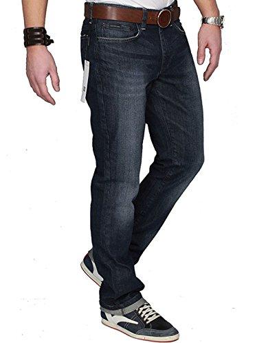 Calvin Klein Relaxed Fit Jeans (CALVIN KLEIN Herren Jeans EF8V3 Blue Denim Hose Elasthan Regular Fit (31W / 34L, Dunkelblau (Dark Blue Denim Fit:REG)))