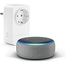 Echo Dot (3.ª generación), tela de color gris oscuro + Amazon Smart Plug, compatible con Alexa