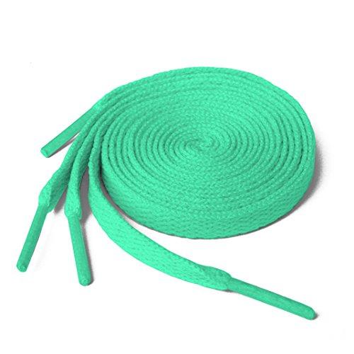 Lacci per scarpe, modello piatto, colorati, per scarpe da ginnastica, scarpini da calcio, adatti a tutte le marche, per adulti e bambini, Verde (Mint Green), 90 cm