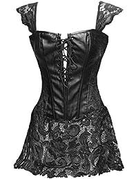 BSLINGERIE® Femme Vintage Noir Dentelle Simili Cuir Bustier Corset Robe