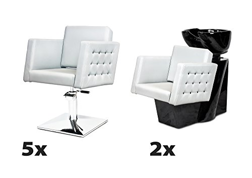 CRISTAL 5 x Fauteuil de salon + 2 x bac à shampoing, 100 couleurs d'ameublement MADE with SWAROVSKI ELEMENTS