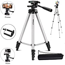 Marklif Adjustable Aluminium Alloy Tripod Stand Holder for Mobile Phones, 360 mm -1050 mm, 1/4 inch Screw Metal Body (Silver and Black)
