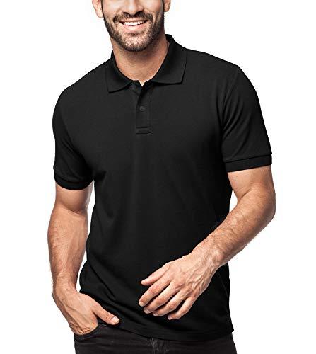 LAPASA Herren 100% Baumwolle Polo Pique Polo Shirt Kurzarm mit Polokragen MEHRWEG M019 (M (letzter Abbildung zufolge), Schwarz (neu)) -