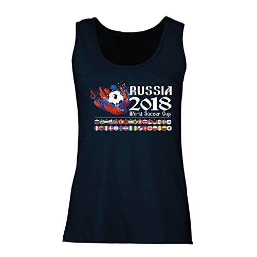 lepni.me Damen Tank-Top Russland-Weltcup-Cup 2018, Alle 32 Nationalen Fußballmannschaft Flaggen (X-Large Blau Mehrfarben) (T-shirt Fitted Bälle)