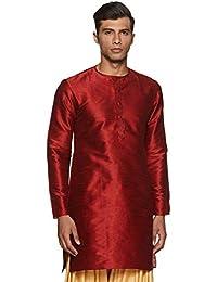 Manyavar Men's Mid-Thigh Full Sleeve Blended Kurta (MK50105)