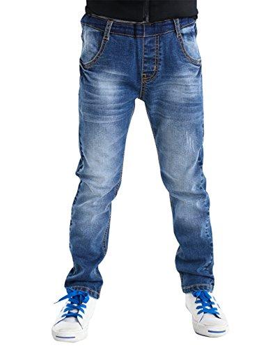 BYCR Jungen Elastischer Bund Jeans Baumwolle Jeanshosen für Kindern 4-14 Jahre Nr. 71500092 (170 ( Bestellgröße 160-170cm ), Blau)