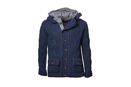 Mauro Corti, Felpa maglione uomo in lana con cappuccio, blu
