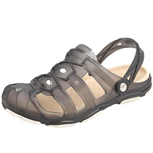 Xing Lin Sandales Pour Hommes Grande Taille Baotou Retirer Chaussures Chaussures Hommes D'Été Cool Chaussures Trou Chaussons Chaussons Sandales Respirant La Moitié gray