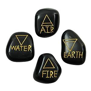 HARMONIZE Satz Von 4 Getrommelt Schwarzem Obsidian Steine ??Wiccan Elementare Symbol Heidnischen Geistigen Rekki Steine ??Heilung