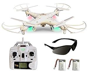 Syma X5C Explorer (Forscher) Weiße Deutsche AGETECH® GmbH Sonder-Edition mit Zusatz-Akku und HD Kamera mit Tonaufzeichnung - 3D Quadrocopter Drohne, mit Motor-STOPP-Funktion, Akku-Warner, 360° Flip Funktion, 2.4 GHz, 4-Kanal, 6-AXIS Stabilization System u