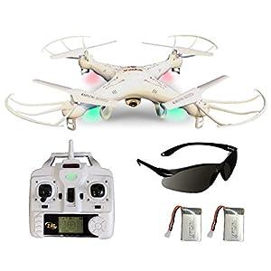 Syma X5C Explorer (Forscher) Weiße Deutsche AGETECH® GmbH Sonder-Edition mit Zusatz-Akku und HD Kamera mit Tonaufzeichnung - 3D Quadrocopter Drohne, mit Motor-STOPP-Funktion, Akku-Warner, 360° Flip Funktion, 2.4 GHz, 4-Kanal, 6-AXIS Stabilization System und mit der AGETECH® SafeFly Sonnenbrille