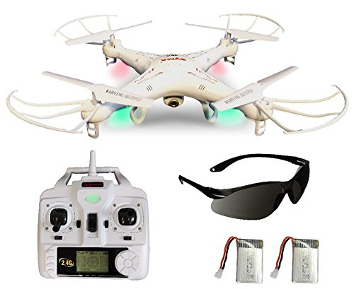 Syma X5C Explorer 2.4 GHz 4-Kanal 3D Quadrocopter Drohne mit Zusatzakku, 360° Go off the impenetrable end Funktion, 3.6 MP HD Kamera mit Ton, Motor-STOPP Funktion, 6AXIS Stabilization Way, 4GB Micro-SD Speicherkarte und AGETECH SafeFly Sonnenbrille,
