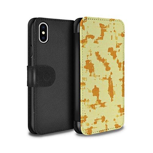 Stuff4 Coque/Etui/Housse Cuir PU Case/Cover pour Apple iPhone X/10 / Chaud Plage Rayures Design / Mode Jaune Collection Art Moderne/Splat