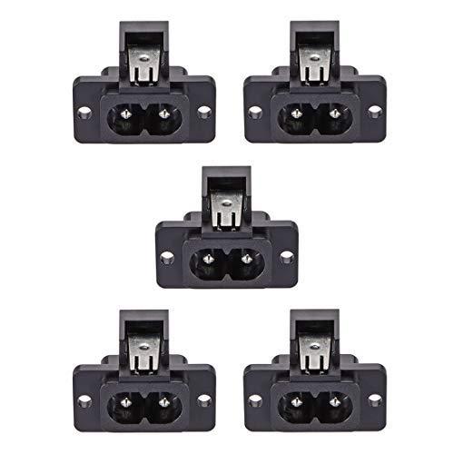 C8 Adaptateur de prise de montage sur panneau 250V AC 2.5A 2 broches IEC Inlet Module Plug Power Socket Straight, 5 Pcs