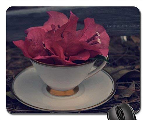 The Pink Drink Mouse Pad,Flowers Non-Slip Mouse Pad Office Competitive Mouse Pad 18X22cm -