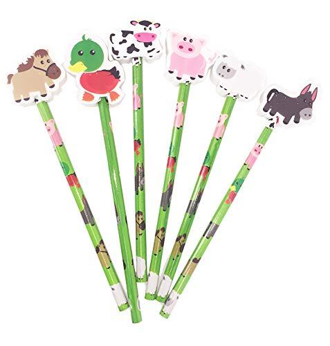 Farmfreunde Radiergummi, 12 Stück Ideales Party-Tütenfüller, Studentengeschenk und günstiges Geschenk für Kinder -
