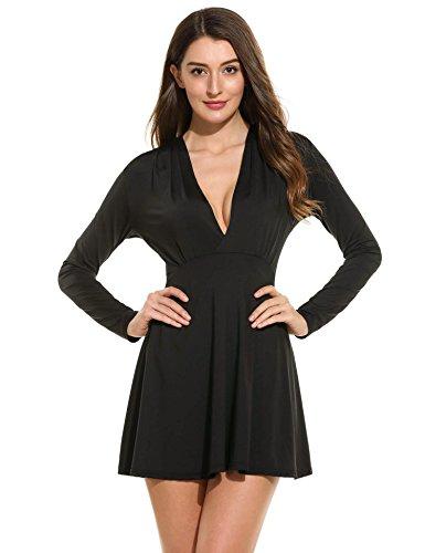Damen Kleid T-Shirt Kleid V-Ausschnitt kleid Jersey kleid Stretch A-Line Stretch Basic Kleid Minikleid in 3 Farben Gr.S-XXL (Spandex Jersey T-shirt)