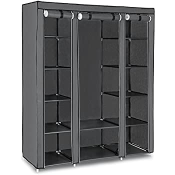 SONGMICS XXL Kleiderschrank Faltschrank Stoffschrank mit Kleiderstange DREI hochrollbare Türen Campingschrank 175 x 150 x 45 cm Grau LSF03G
