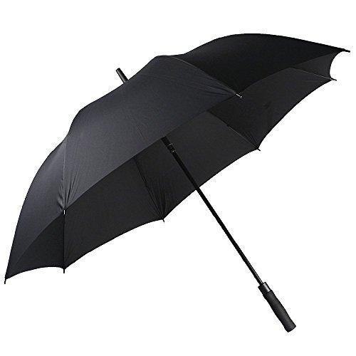Leichter XXL Automatisch Öffnen Golf Schirm Extra große Übergroß für 2 Personen Voll-Fiberglas- Regenschirm mit Softgriff (schwarz)-YS013