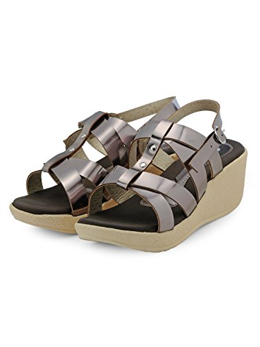 Nell Women Silver Solid Wedges ( Size-38)  available at amazon for Rs.399
