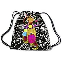 Mochila infantil merienda guardería para bebés niños niñas preescolar bolsa de cordón Tris & Ton modelo Monkey moto (Trisyton)