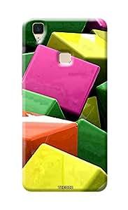 Tecozo Designer Printed Back Cover / Hard Case for Vivo V3 (Blocks/ Pattern)