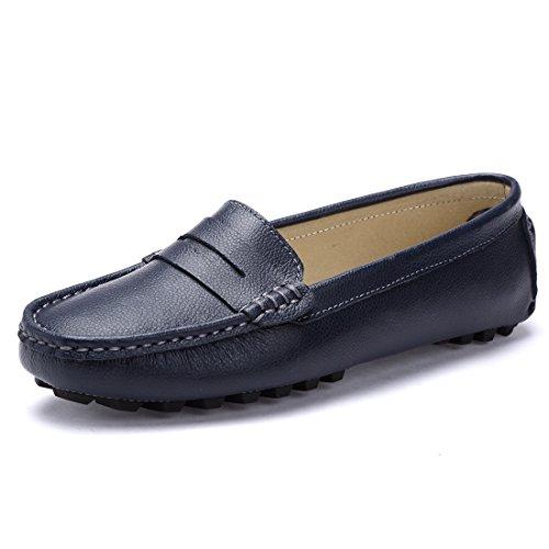 LUOBANIU Damen Mokassin Leder Slipper Bootsschuhe Slip-on Bequem Halbschuhe Damenschuhe Freizeit Blau 40/41 EU (11 US) (Leder 11 Schwarz)