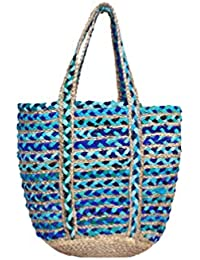 HabereIndia Girl's Jute Chic and Elegant Tote Bag (Multicolour)