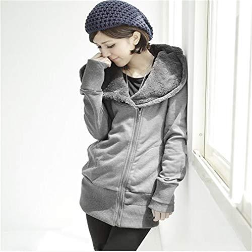 DERNON Womens Ladies Plain Hoodie Hooded Zip Zipper Sweatshirt Casual Jacket Coats Light Grey -