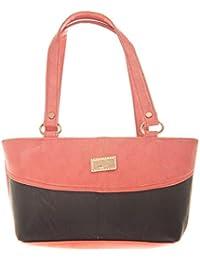 Aliado Faux Leather Solid Peach & Black Zipper Closure Handbag For Women