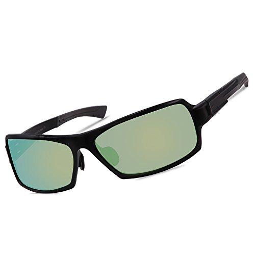Duco Polarized Rectangular Wrap Gafas de Sol para Hombre Mujer, Unbrea