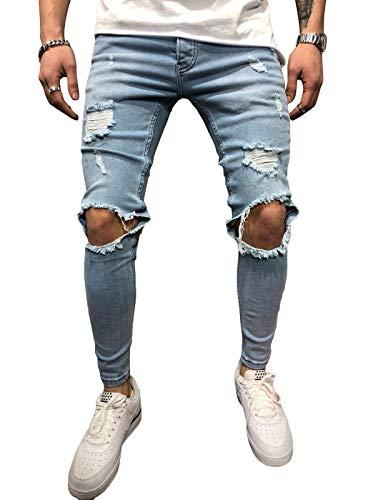 BMEIG Jeans Hombres Rotos Slim Fit Ripped Estiramiento Rodilla Destruido Flaco Denim Apenado Biker Jeans Diseñador Clásico Orificios Hip Hop Pantalones de Trabajo Otoño Invierno M-3XL