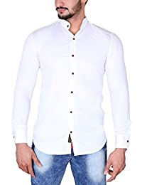 Jugend Solid Casual Full Sleeves Mandarin Collar Slim Fit Navy Blue Cotton Shirt For Men
