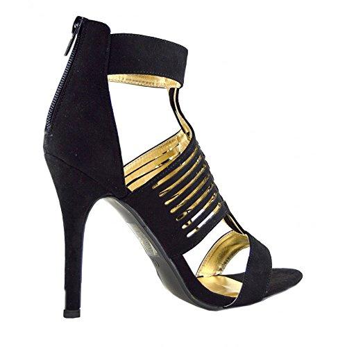 Kick-Scarpe da donna con tacco alto, con lacci (BLACK - F10510)