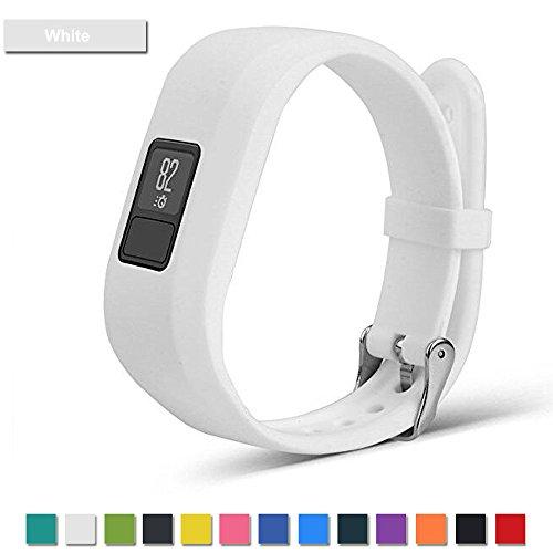 Correa de repuesto Bemodst para pulsera inteligente Garmin Vivofit 3, con hebilla de metal, de silicona ecológica y no tóxica, blanco